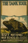 The tank tour. Buy national war bonds and war savings certificates. Vintage WW1 Poster.